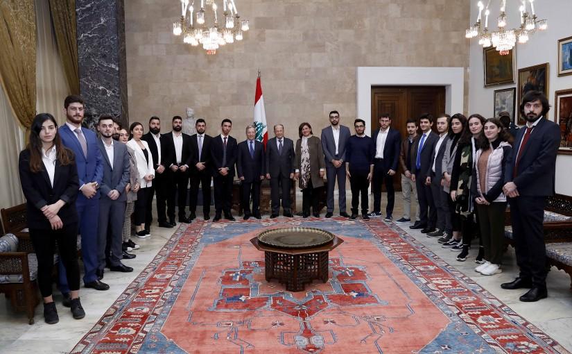 President Michel Aoun meets Dr. Paul Daher with a delegation.