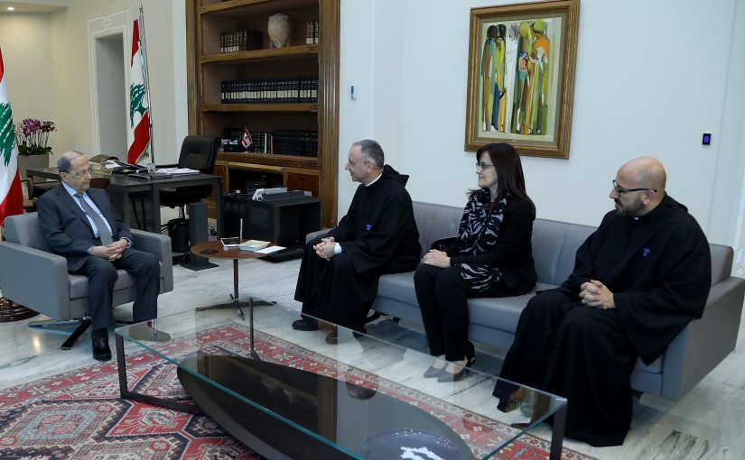 President Michel Aoun meets President of the Antonine University Father Michel Jalekh with a delegation.