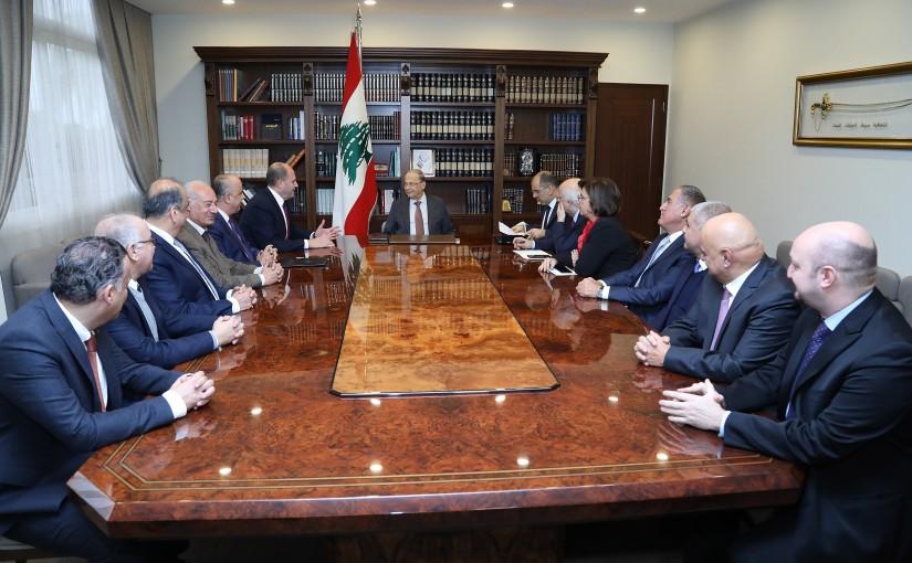 President Michel Aoun meets MP Salim Aoun with a delegation.