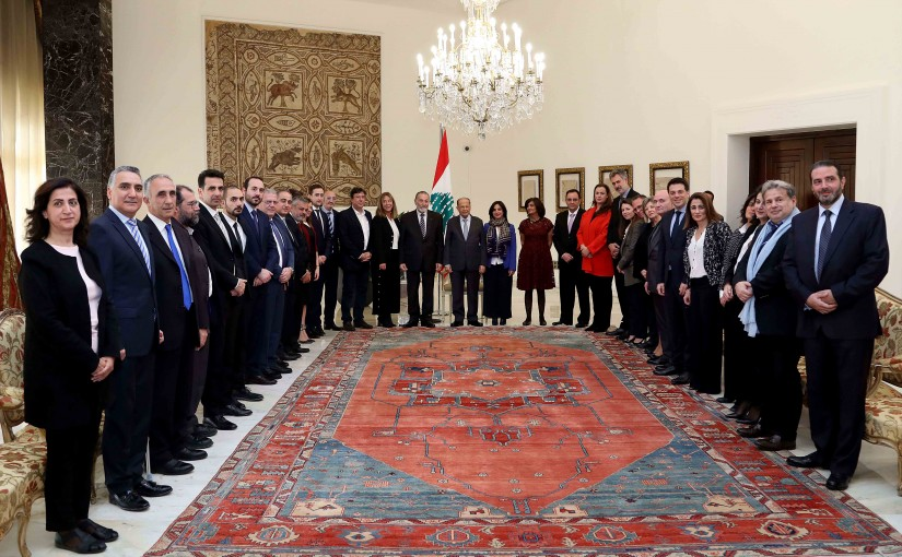 President Michel Aoun meets Mr. Naji Khoury with a delegation.