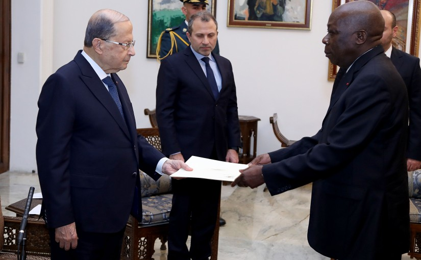 President Michel Aoun receives the credentials of the Ambassador of the Republic of Cote d'Ivoire Tui Digbe.