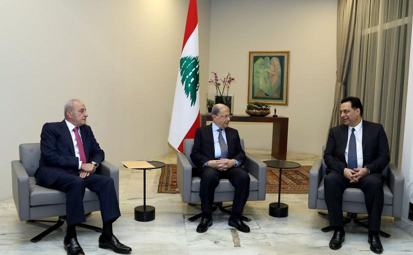 President Michel Aoun meets  Speaker of Parliament Nabih Berri, and Prime Minister-designate Dr. Hassan Diab.