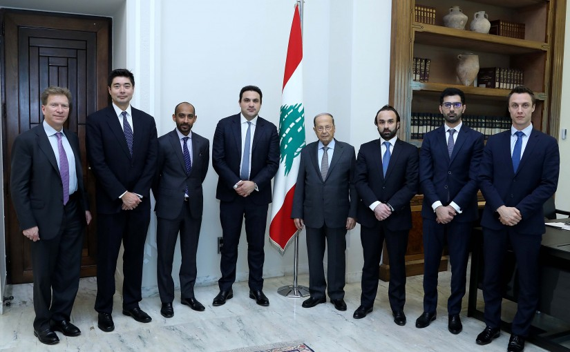 President Michel Aoun meets a Delegation from British financial and investment institution and Morgan Stanley bank.