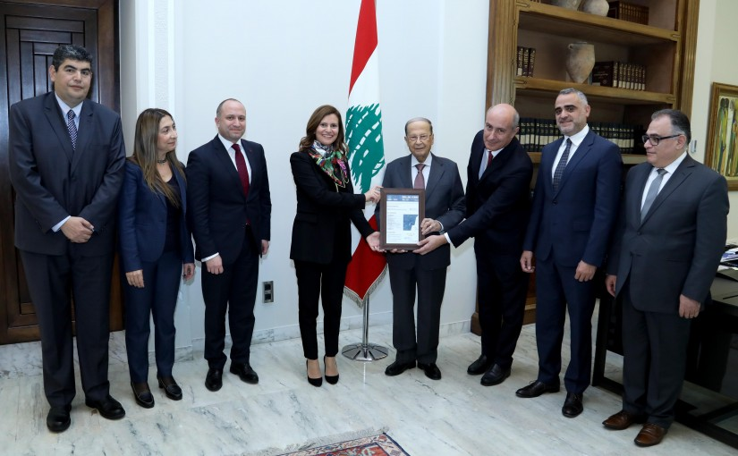 President Michel Aoun meets Minister Nada Boustani with a delegation.