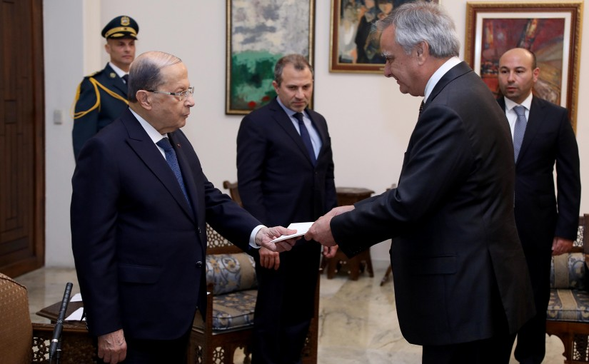 President Michel Aoun receives the credentials of the Ambassador of the Republic of Chile Maurice Uglade Bilabo.