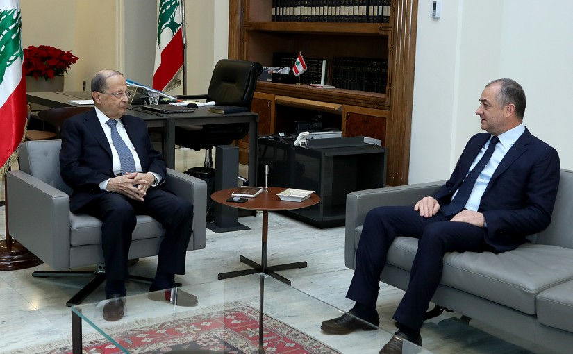 President Michel Aoun meets Minister of Defense Elias Bou Saab.