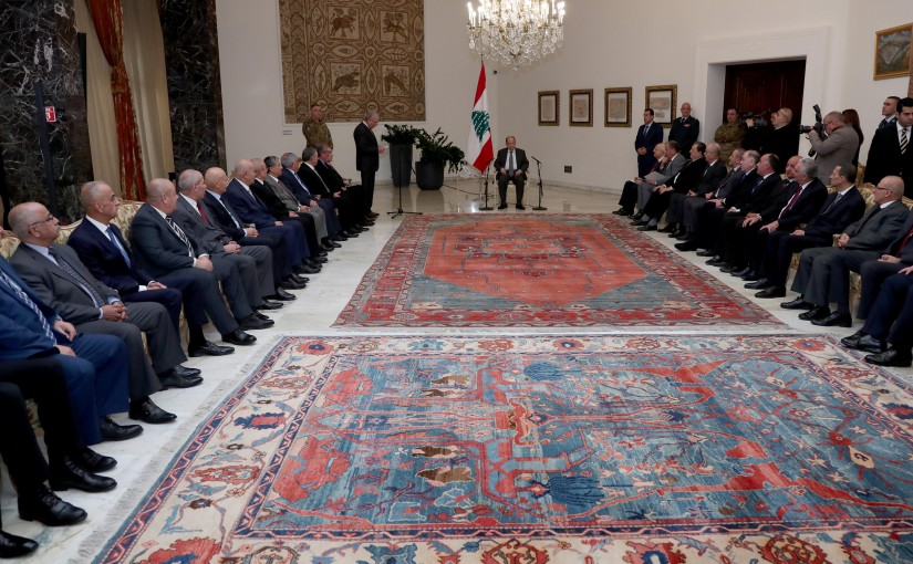President Michel Aoun meets a group of Retired officers.