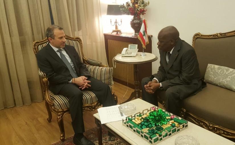 Minister Gebran Bassil meets Cote D d'ivoire Ambassador