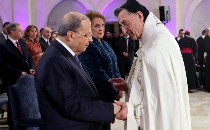 President Michel Aoun & Mrs Nadia Aoun Attend a Mass at Antouniyeh Baabda