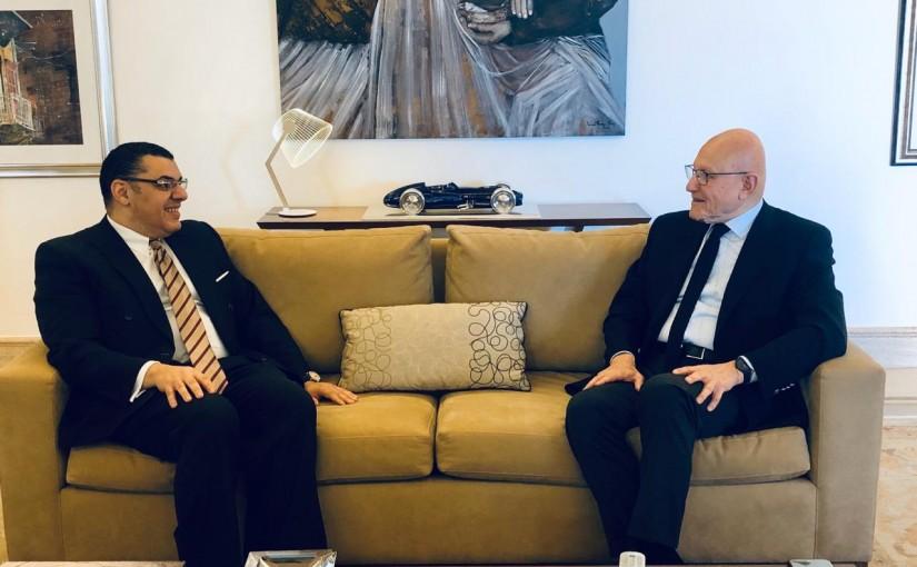 Former Pr Minister Tammam Salam meets Egyptian Ambassador