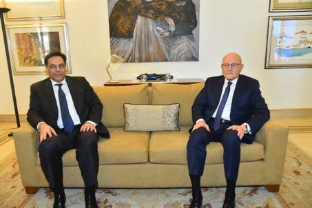 Former Pr Minister Tammam Salam meets Minister Hassan Diab