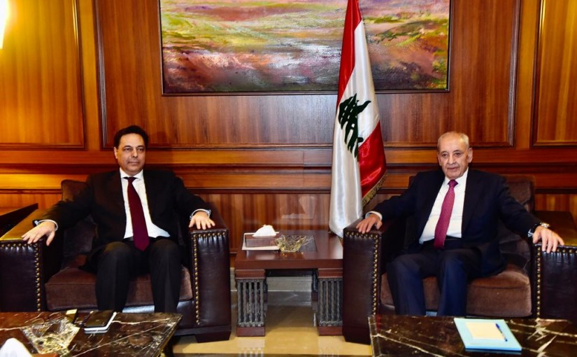 Pr Minister Hassan diab meets House Speaker Nabih Berry