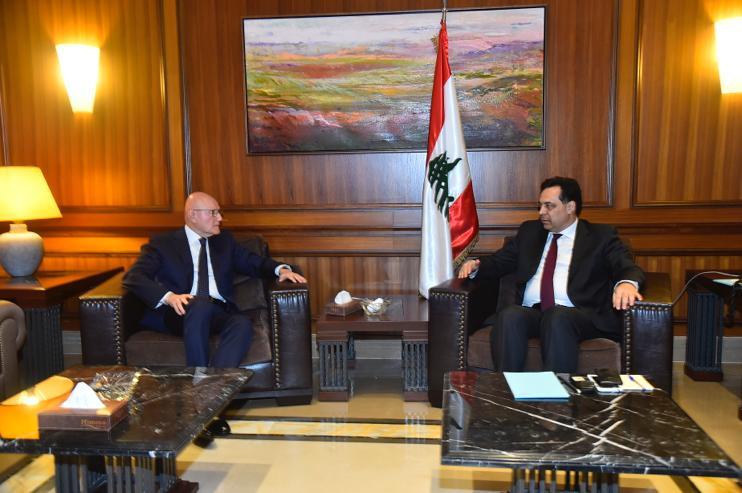 Pr Minister Hassan Diab meets Former Pr Minister Tammam Salam
