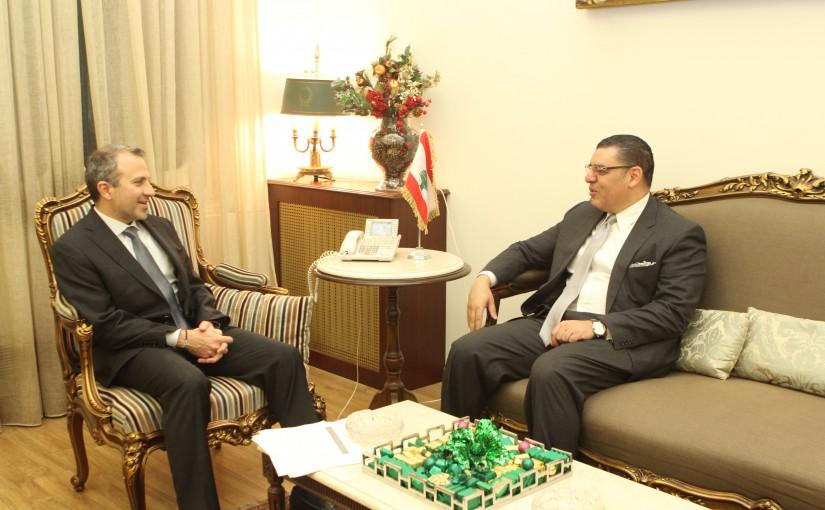 Minister Gebran Bassil meets Egyptian Ambassador