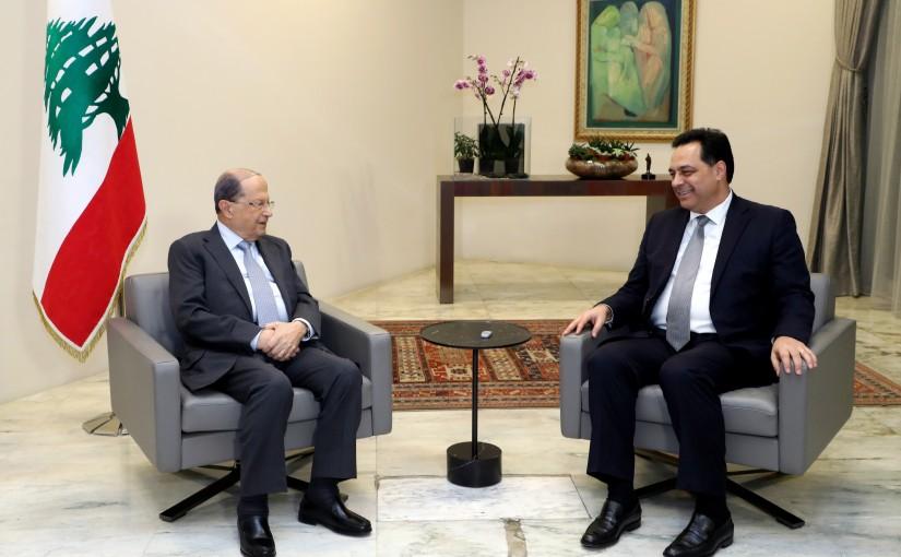 President Michel Aoun meets the Prime Minister-designate Dr. Hassan Diab.