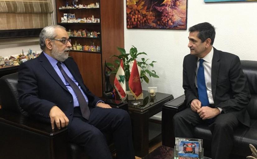 MP Hagop Pakradouni meets minister  Richard Kouyoumdjian.