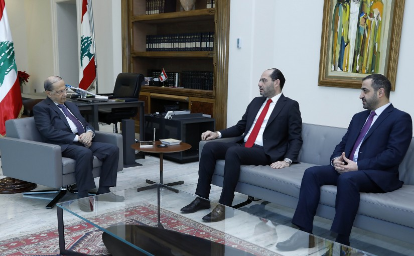 President Michel Aoun meets Ministers Hassan Mrad and  Ghassan Atallah.