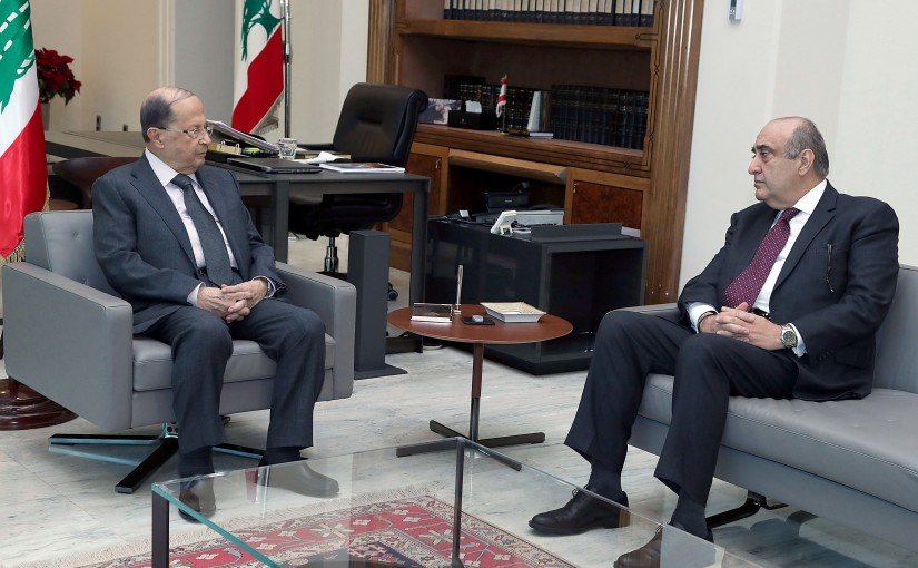 President Michel Aoun meets Former Minister Fadi Abboud.
