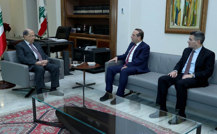 President Michel Aoun meets Former Minister Raed Khoury.