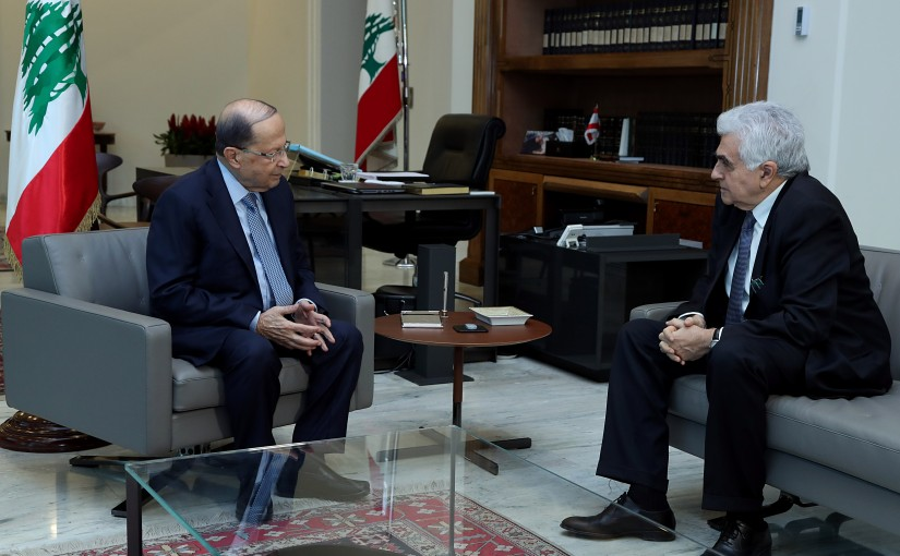 President Michel Aoun meets Minister Nassif Hetti.