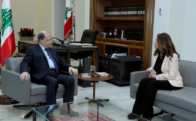 President Michel Aoun meets the Deputy Prime Minister and Minister of Defense Zeina Aker.