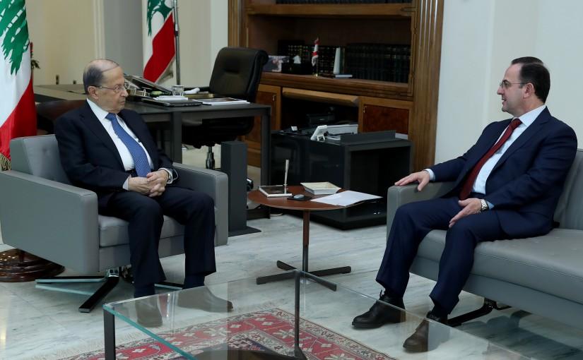 President Michel Aoun meets Minster Avedis Guidanian.
