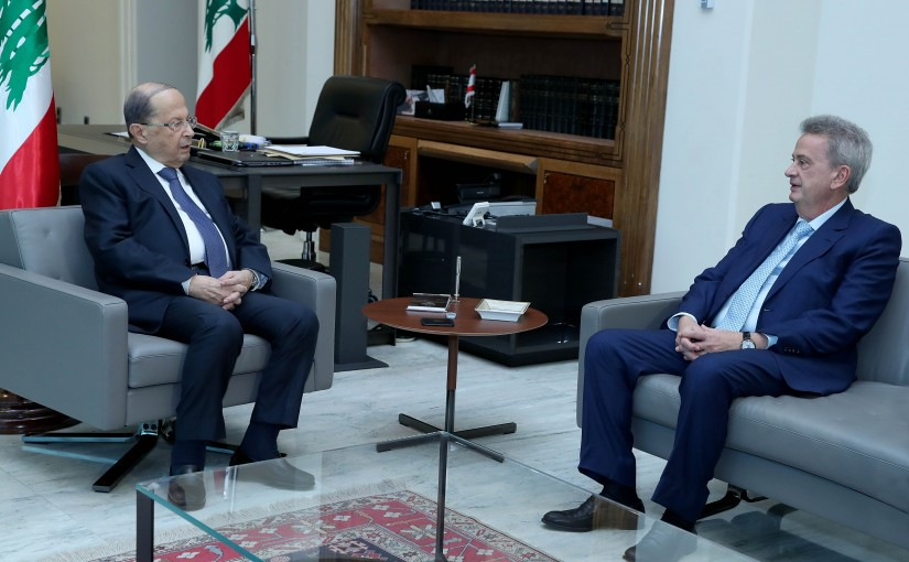 President Michel Aoun meets Mr. Riad Salame Governer of the Banque du Liban.