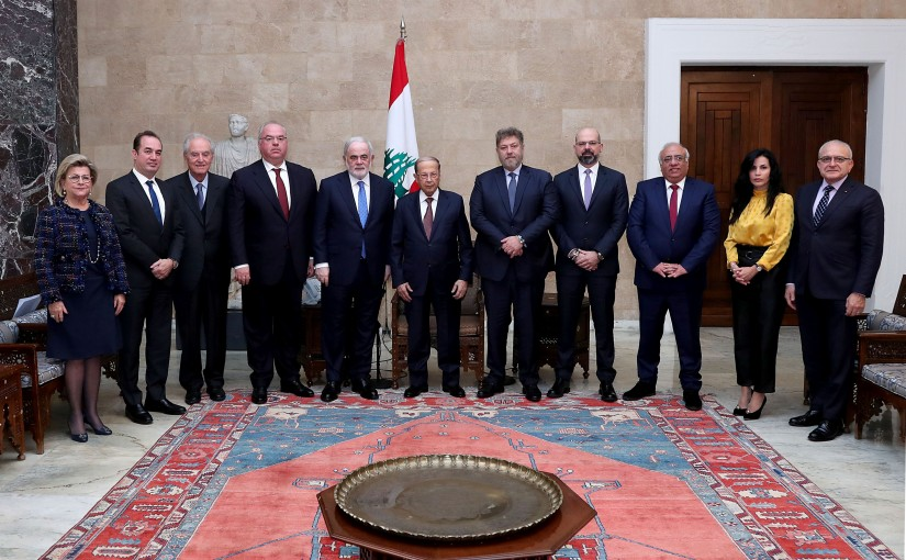 President Michel Aoun meets a delegation from the Maronite Institution for Propagation.