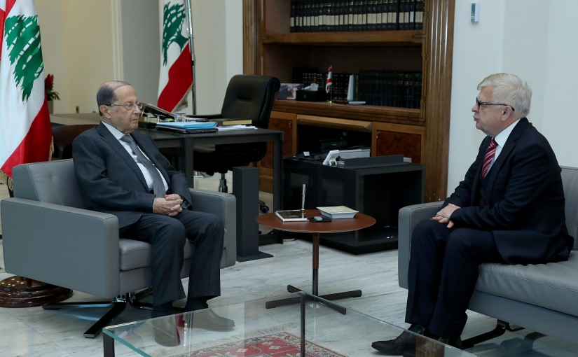 President Michel Aoun meets Ambassador Alexander Zasypkin.