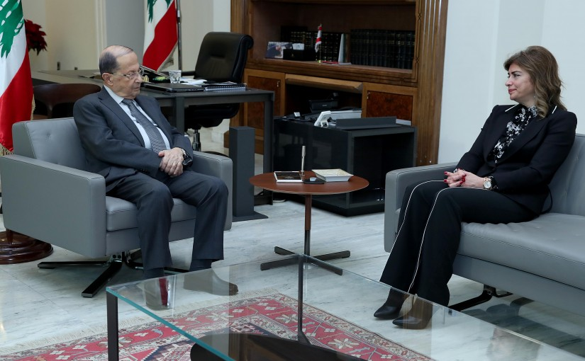 President Michel Aoun meets Ambassador to China Melia Jabbour.