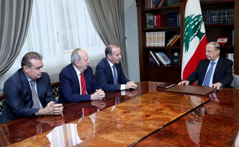 President Michel Aoun meets Judge Tannous Mashleb president of the constitutional council and members of the Council.