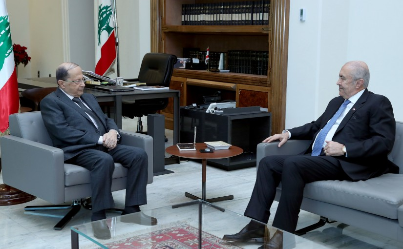 President Michel Aoun meets MP Fouad Makhzoumi.