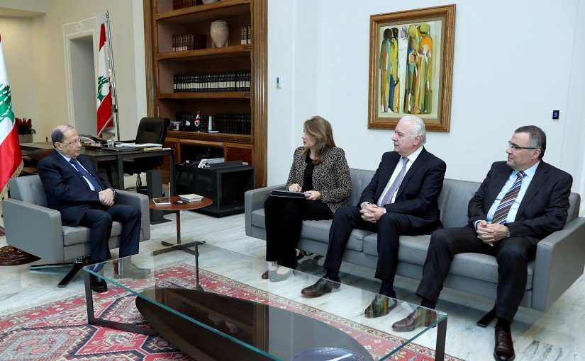 President Michel Aoun meets Minister of Justice Mary Claude Najim.