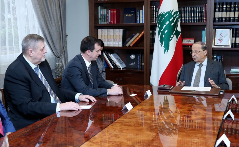 President Michel Aoun meets Mr. Gilles Michaud the United Nations Under-Secretary-General for Security and Safety with a delegation.