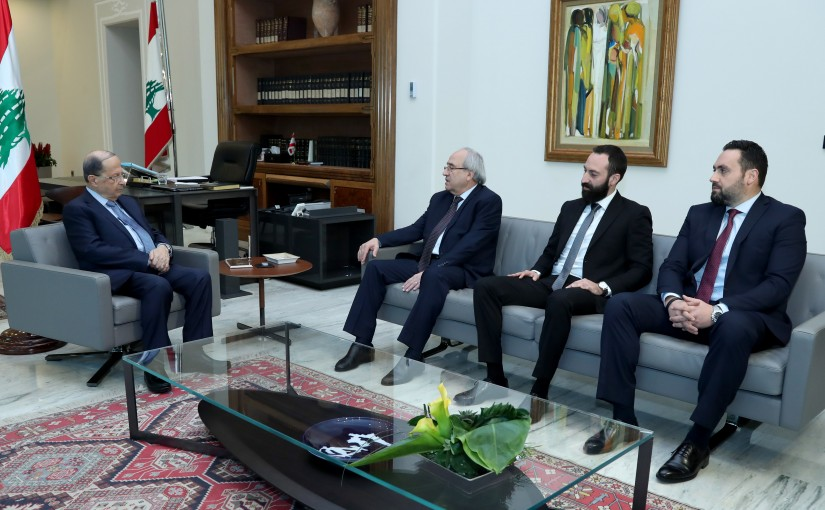 President Michel Aoun meets Former Minister of Justice Albert Sarhan.