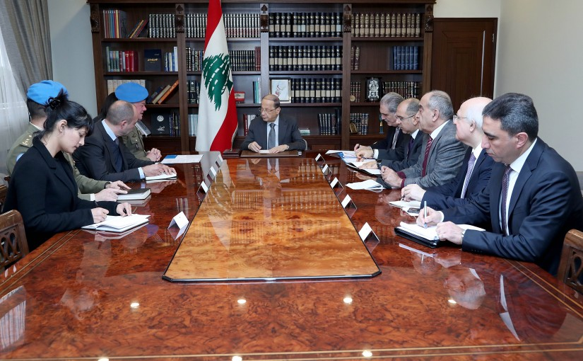 President Michel Aoun meets Maj. Gen. Stefano Del Col with a delegation.