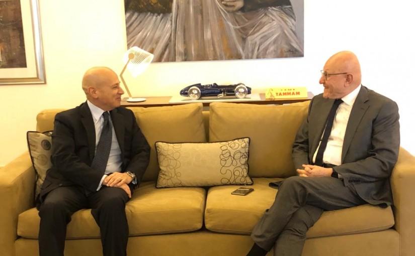 Former Pr Minister Tammam Salam meets Italian Ambassador