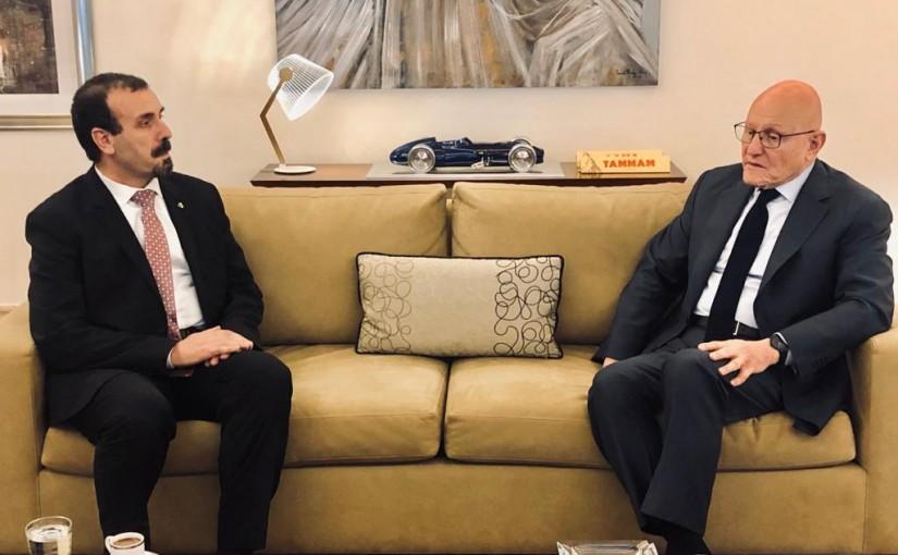 Former Pr Minister Tammam Salam meets Algerian Ambassador
