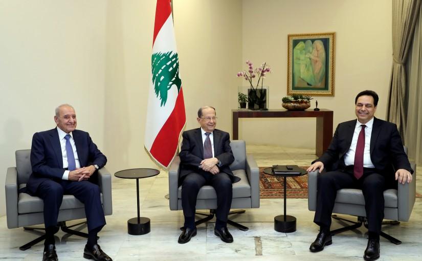 President Michel Aoun meets Parliament Speaker Nabieh Berri and Prime minister designate Dr. Hassan Diab.