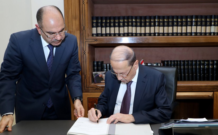 President Michel Aoun and Prime Minister Dr. Hassan Diab Sign The decree forming the Government .