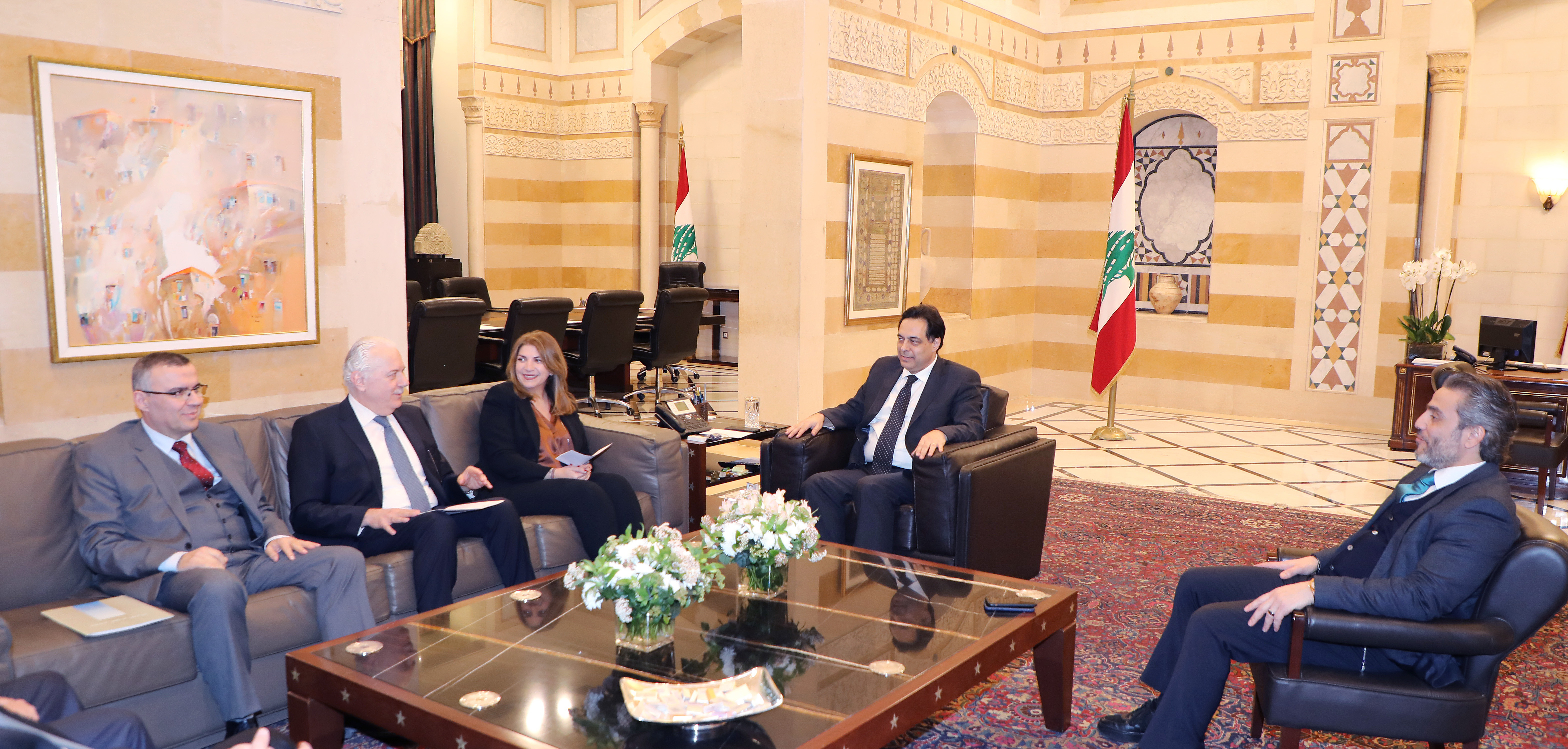 Minister Hassan Diab meets Minister Marie Claude Najem with a Delegation