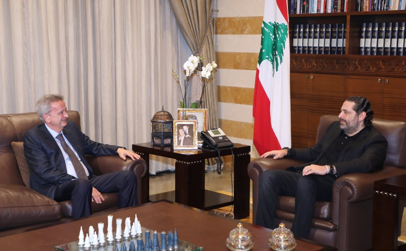 Pr Minister saad Hariri meets Mr Riad Salameh