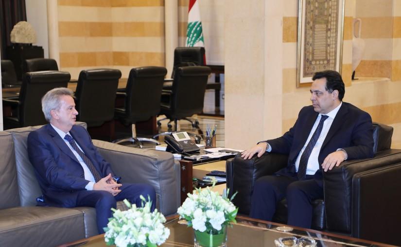 Pr Minister Hassan Diab meets Mr Riyadh Salameh