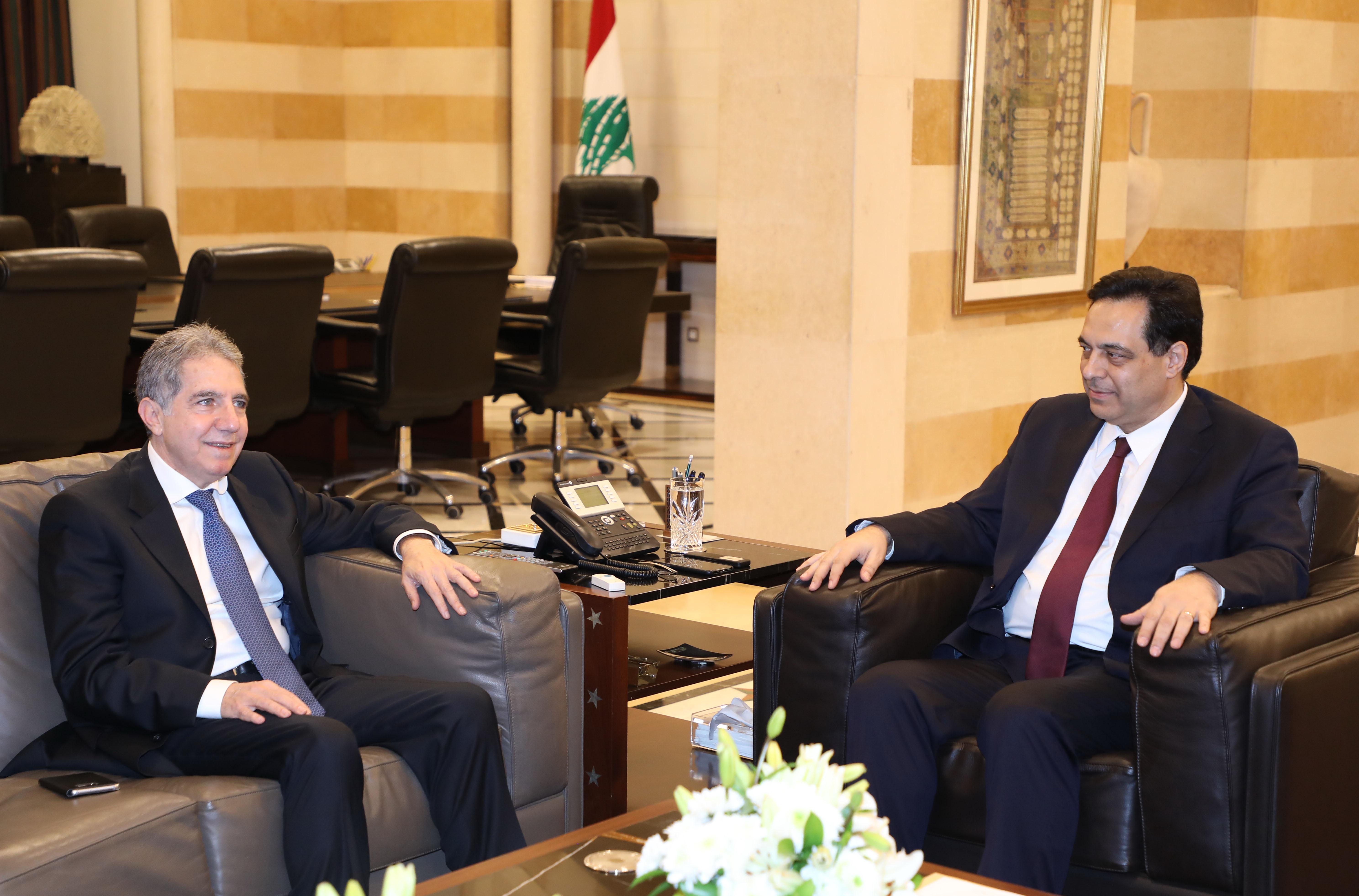Pr Minister Haasan Diab meets Minister Ghazi Wazni