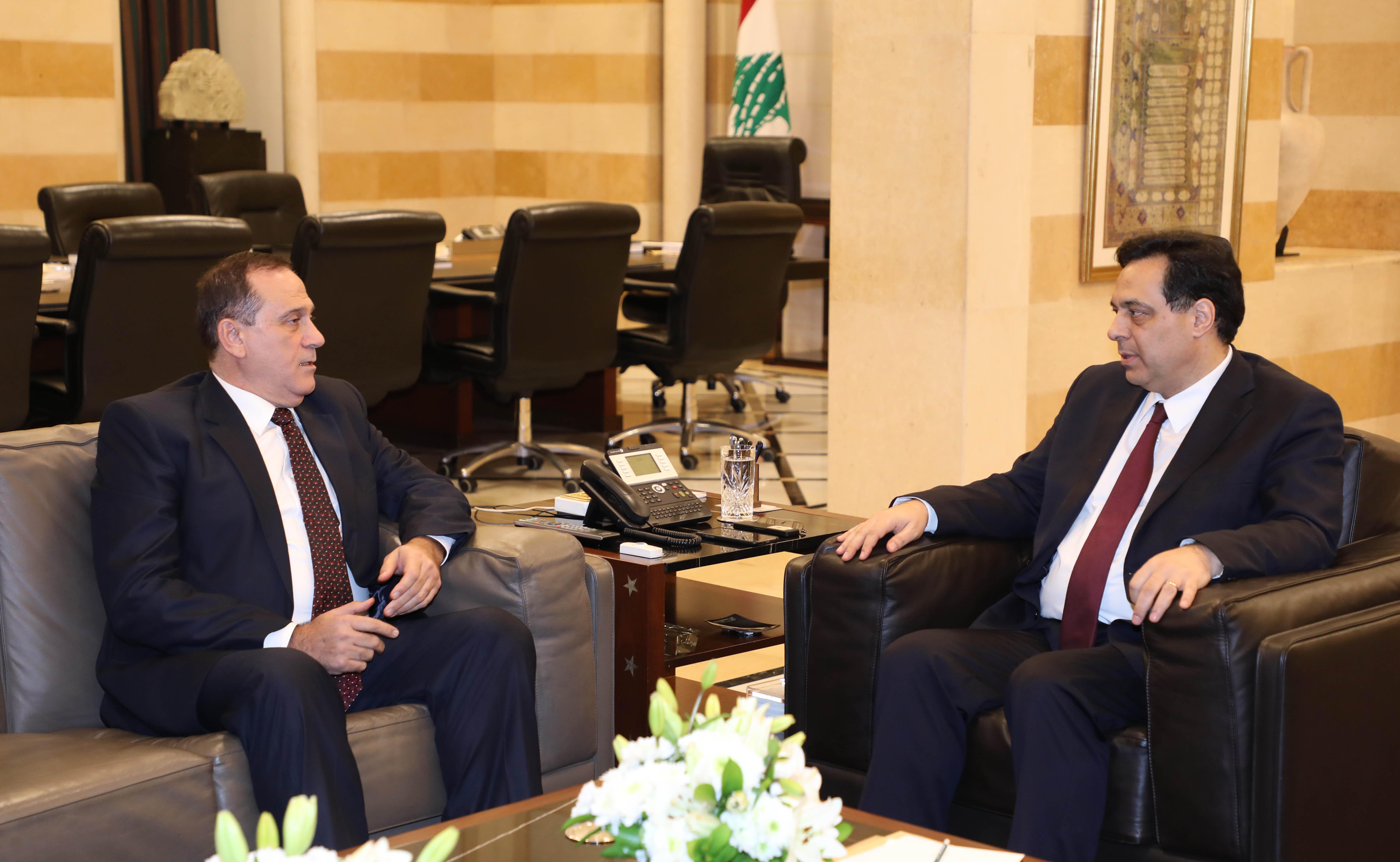 Pr Minister Haasan Diab meets Minister Imad Habalah