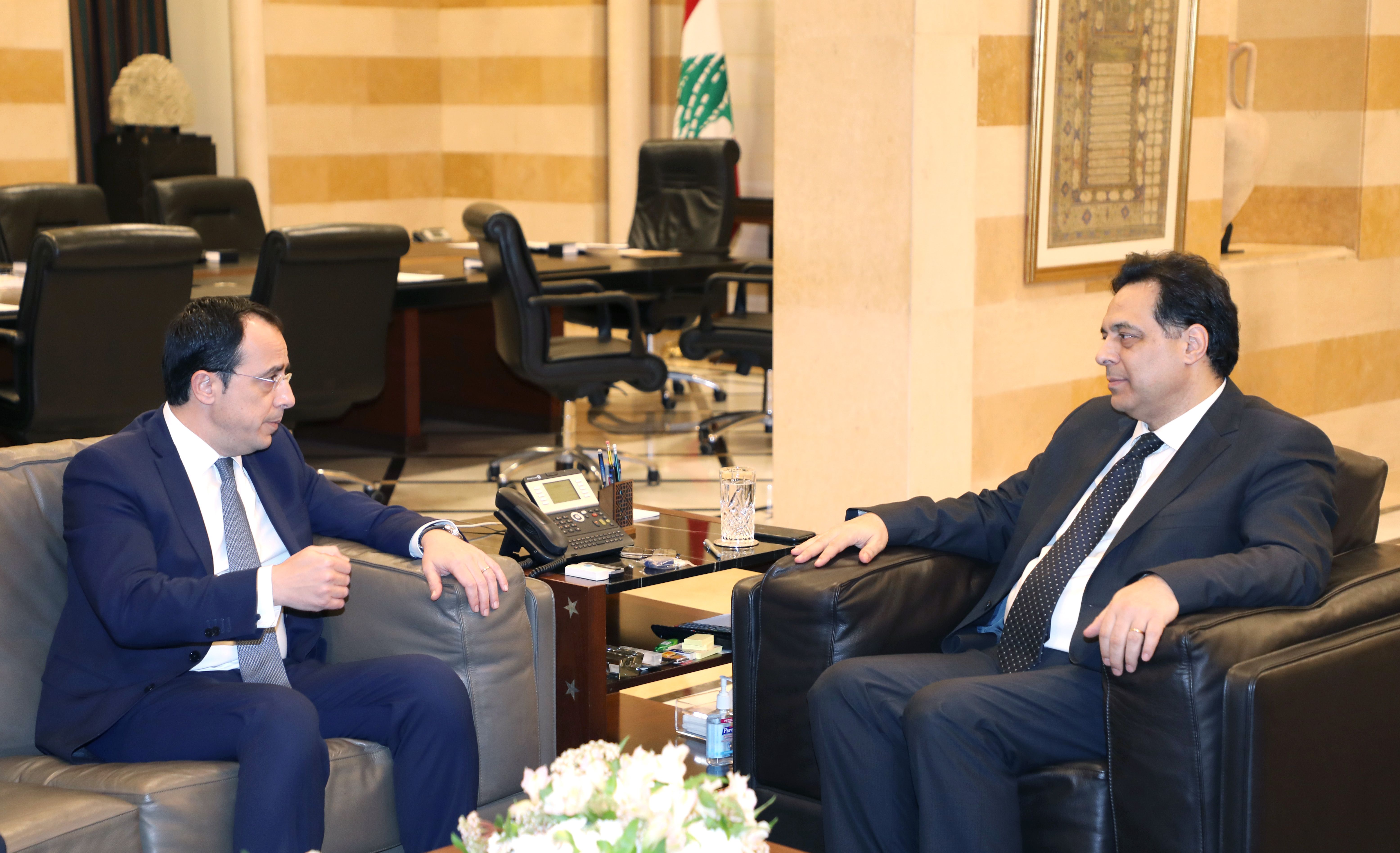 Pr Minister Hassan Daib meets  Cyprus Minister of Foreign Affairs