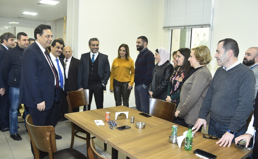 Pr Minister Hassan Diab Tours at the New Cafeteria at the Grand Serail