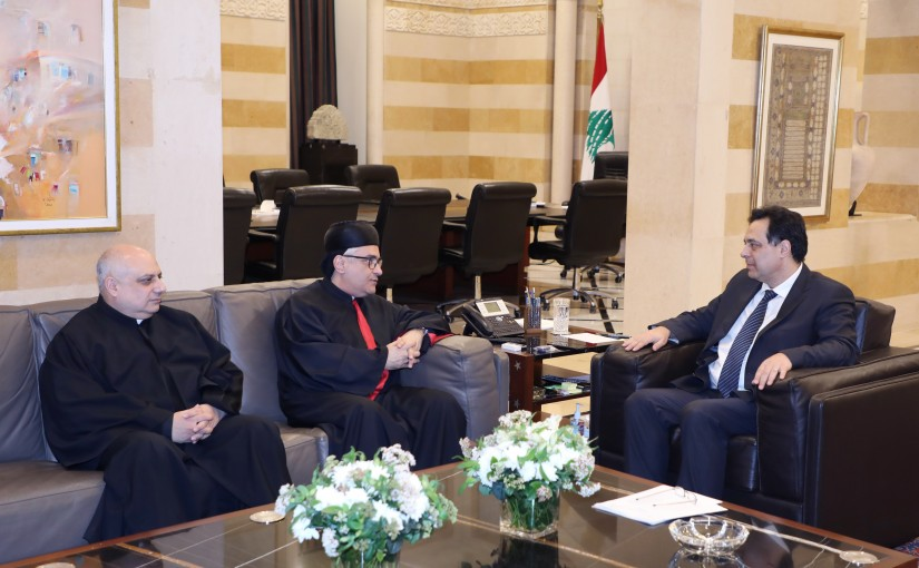 Pr Minister Hassan Diab meets Bishop Boulos Abdel Sater