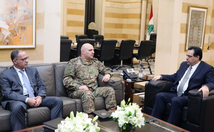 Pr Minister Hassan Diab meets Head of Lebanese Army