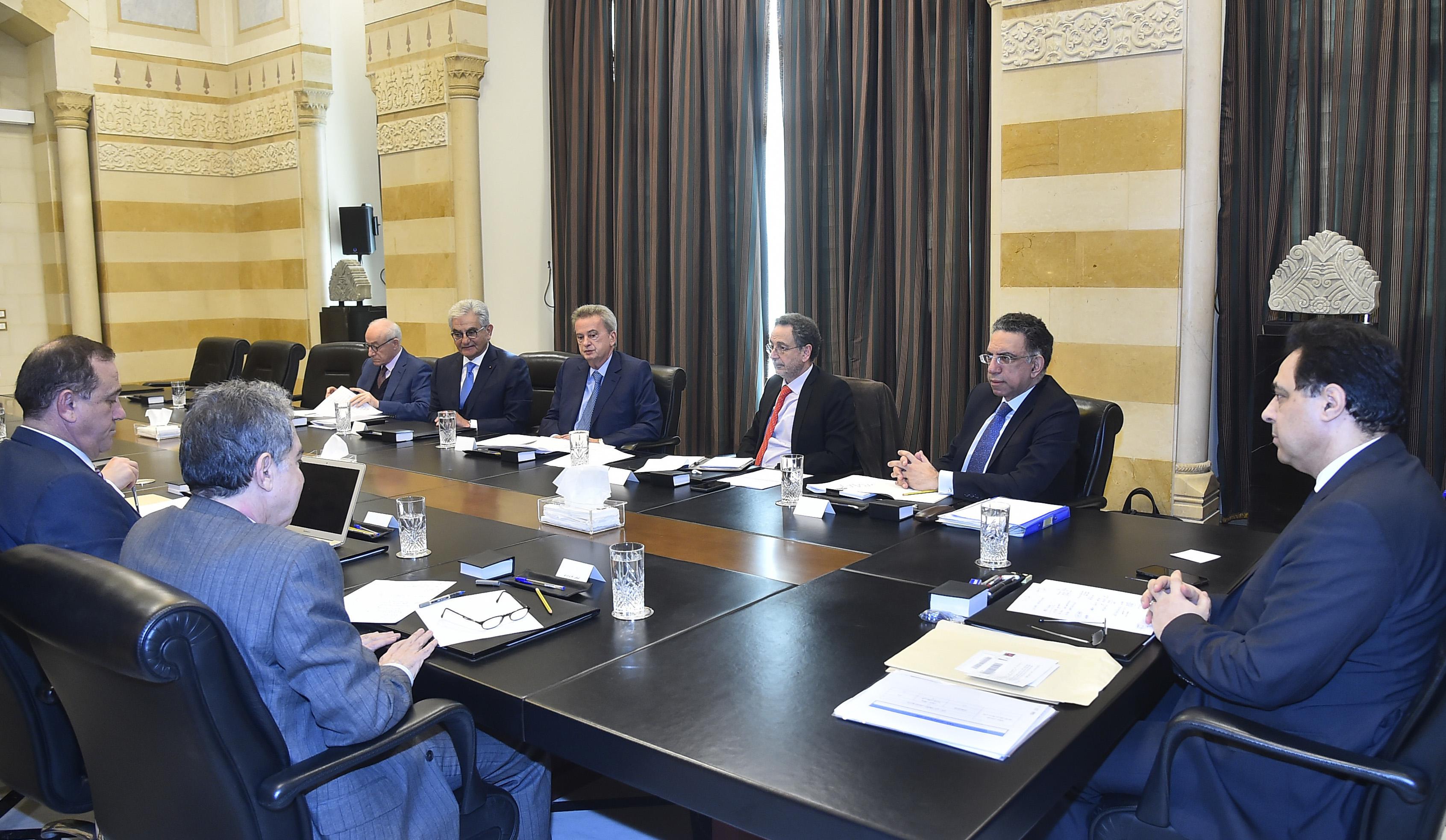 Pr Minister Hassan Diab meets Heading a Economics Meeting 1